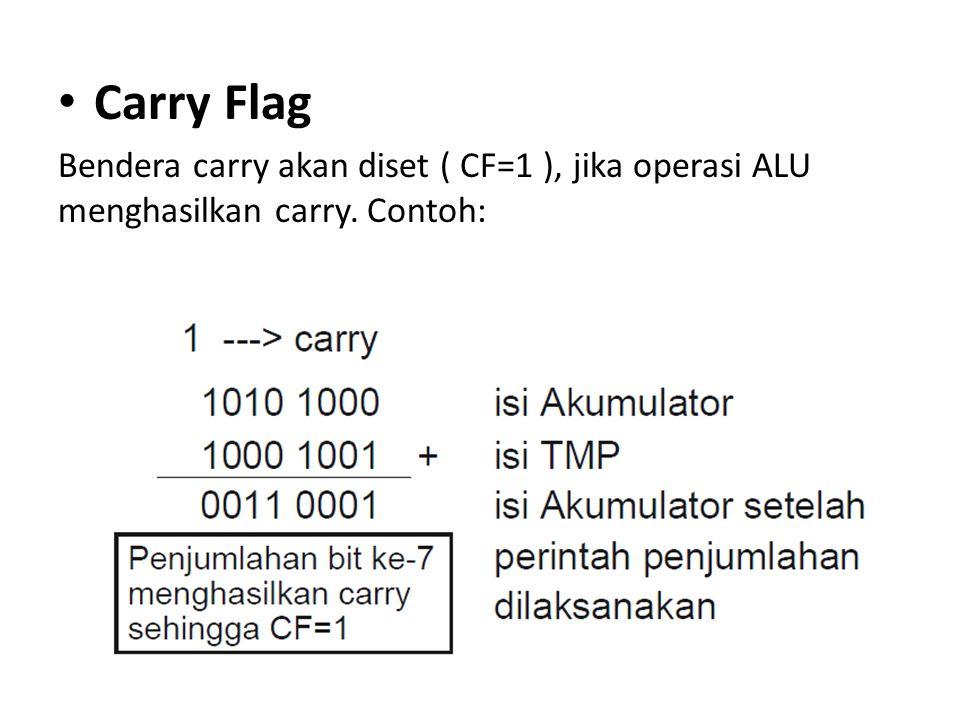Carry Flag Bendera carry akan diset ( CF=1 ), jika operasi ALU menghasilkan carry. Contoh: