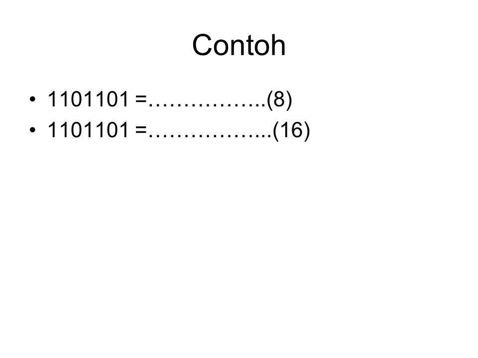 Contoh 1101101 =……………..(8) 1101101 =……………...(16)
