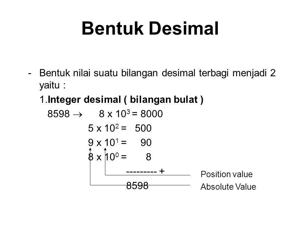 Bentuk Desimal Bentuk nilai suatu bilangan desimal terbagi menjadi 2 yaitu : 1.Integer desimal ( bilangan bulat )
