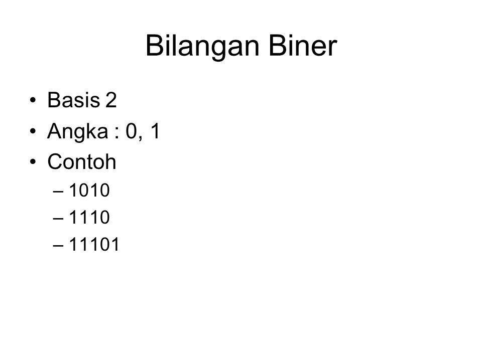 Bilangan Biner Basis 2 Angka : 0, 1 Contoh 1010 1110 11101