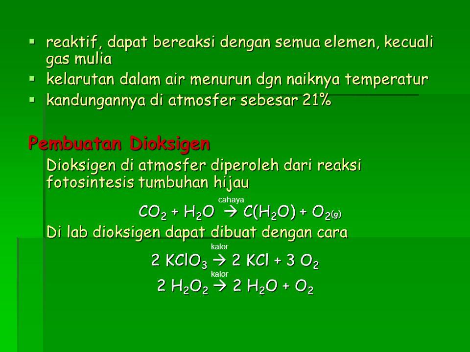 reaktif, dapat bereaksi dengan semua elemen, kecuali gas mulia