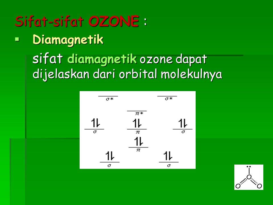 sifat diamagnetik ozone dapat dijelaskan dari orbital molekulnya