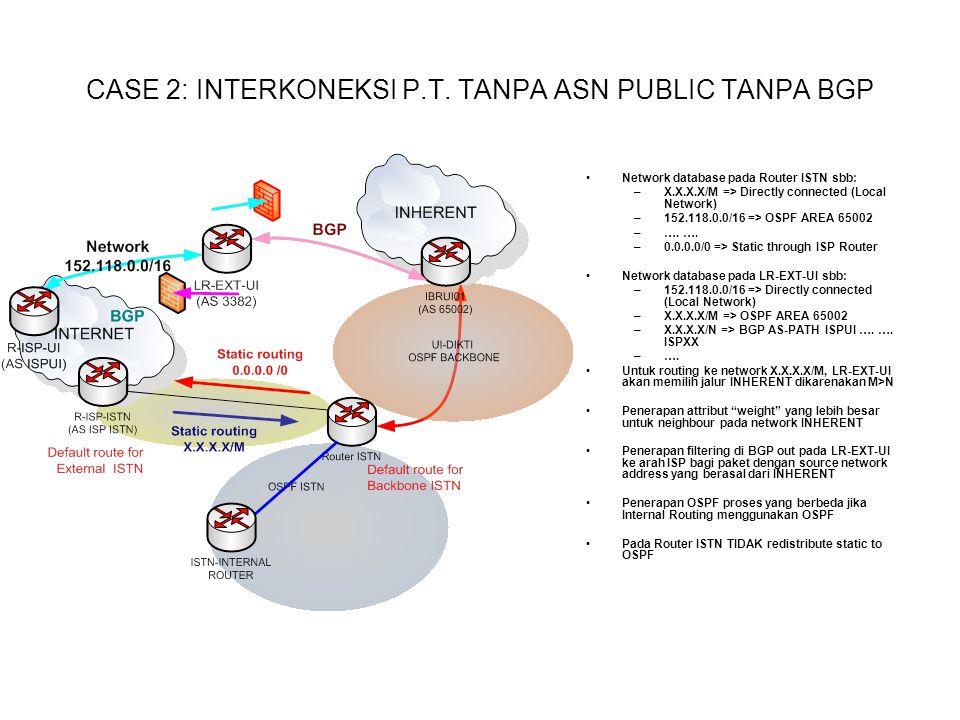 CASE 2: INTERKONEKSI P.T. TANPA ASN PUBLIC TANPA BGP