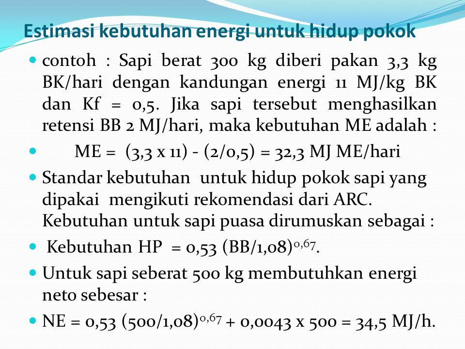 Estimasi kebutuhan energi untuk hidup pokok