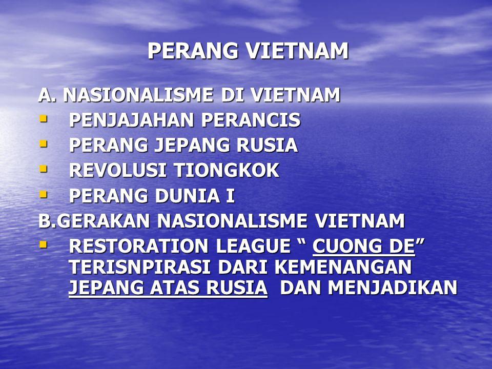 PERANG VIETNAM A. NASIONALISME DI VIETNAM PENJAJAHAN PERANCIS