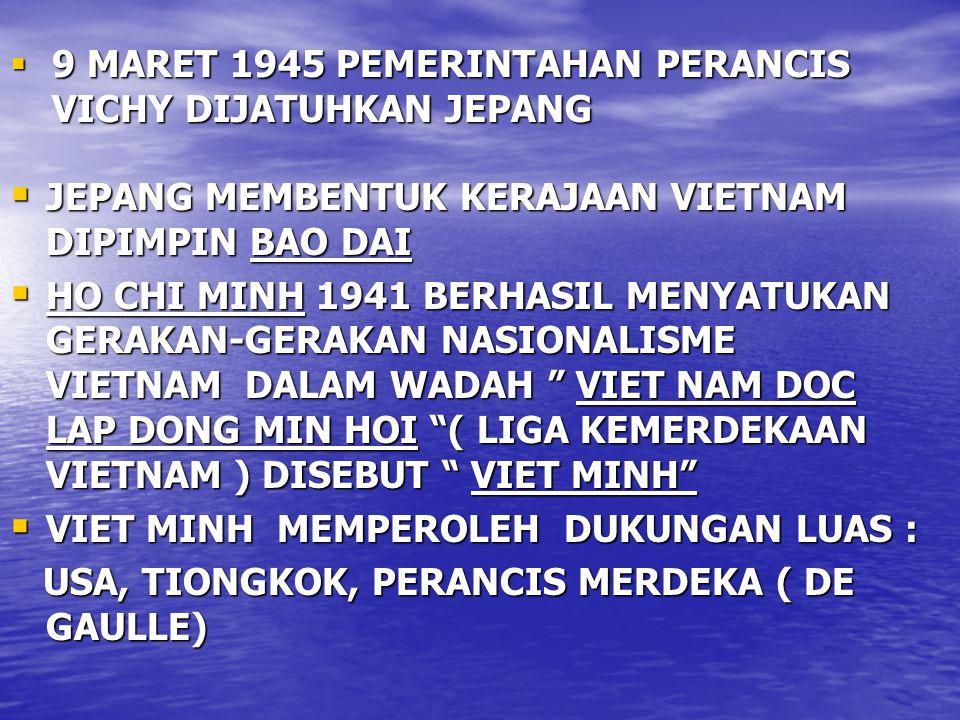 9 MARET 1945 PEMERINTAHAN PERANCIS VICHY DIJATUHKAN JEPANG