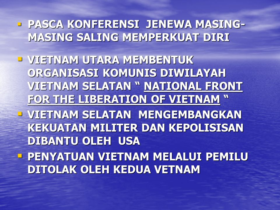 PASCA KONFERENSI JENEWA MASING-MASING SALING MEMPERKUAT DIRI