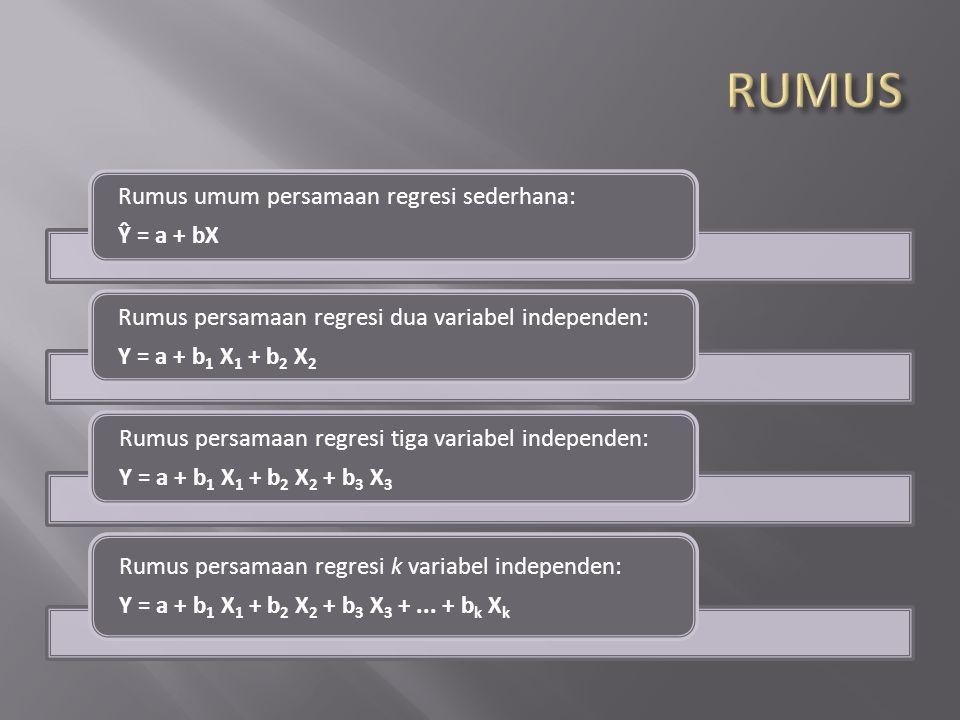 RUMUS Ŷ = a + bX Rumus umum persamaan regresi sederhana: