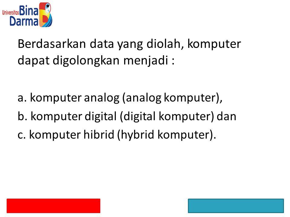 Berdasarkan data yang diolah, komputer dapat digolongkan menjadi :
