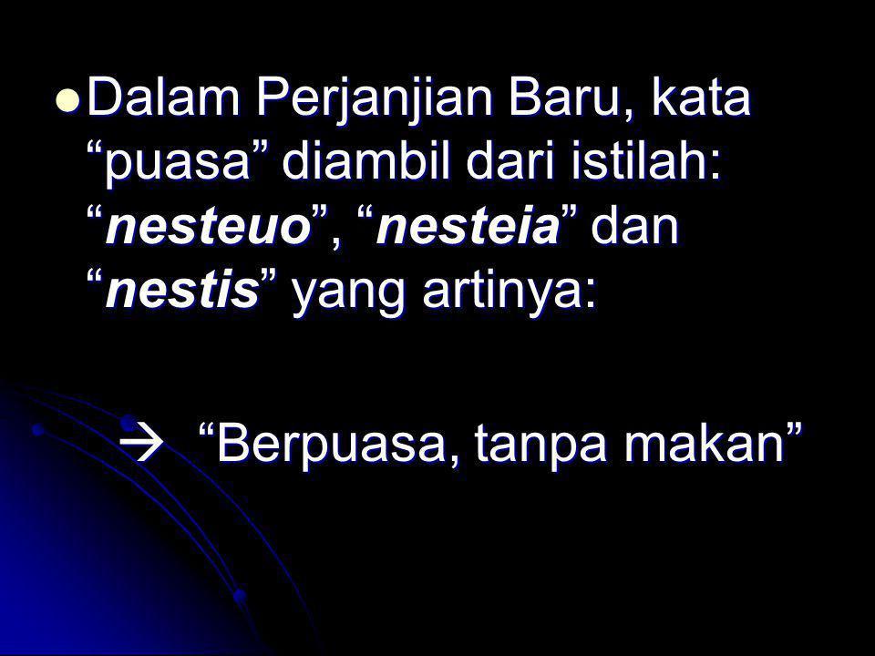 Dalam Perjanjian Baru, kata puasa diambil dari istilah: nesteuo , nesteia dan nestis yang artinya: