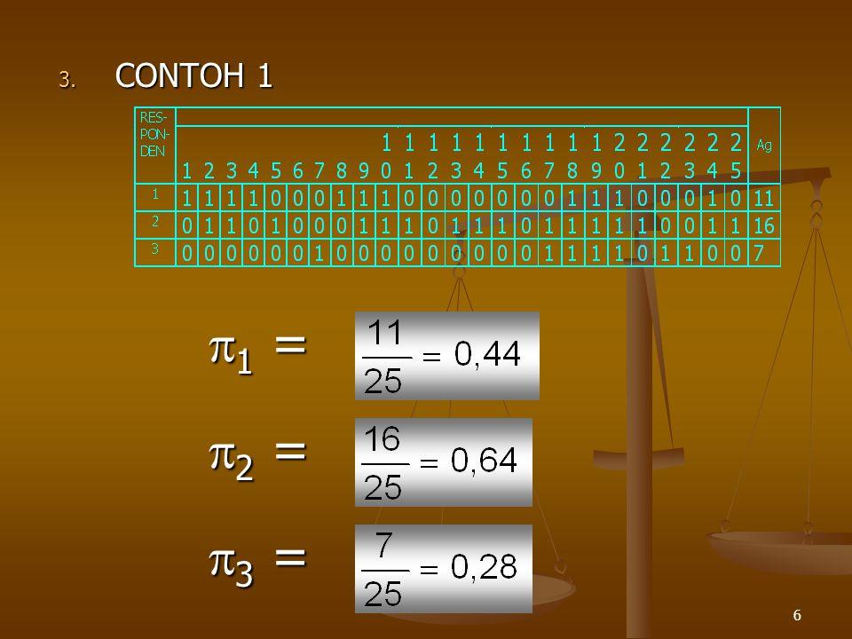 CONTOH 1 1 = 2 = 3 =
