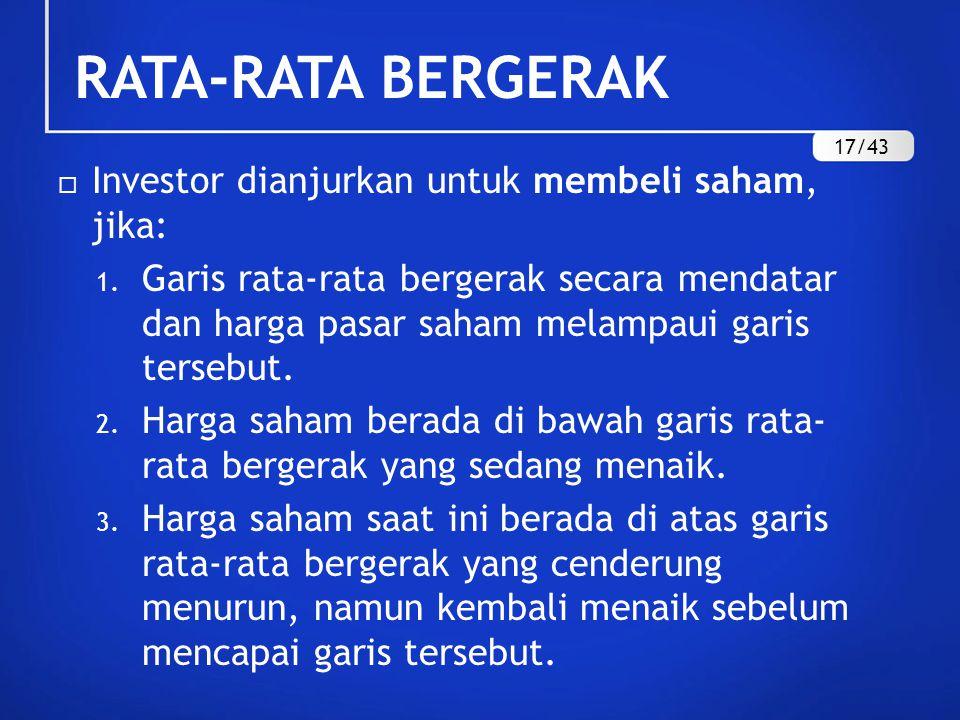 RATA-RATA BERGERAK Investor dianjurkan untuk membeli saham, jika: