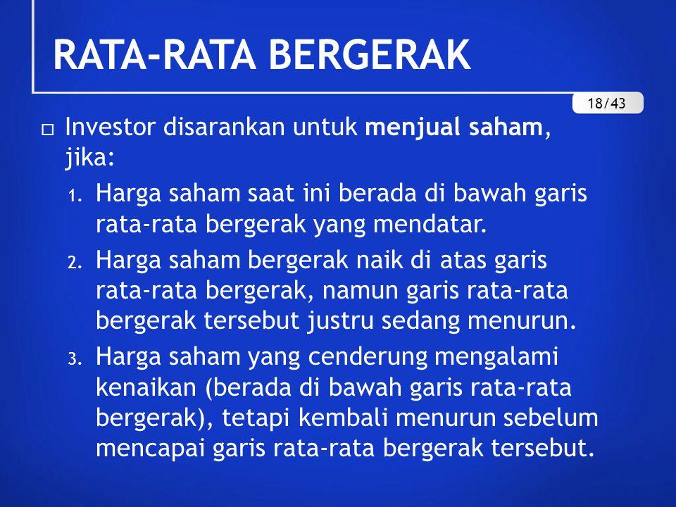 RATA-RATA BERGERAK Investor disarankan untuk menjual saham, jika: