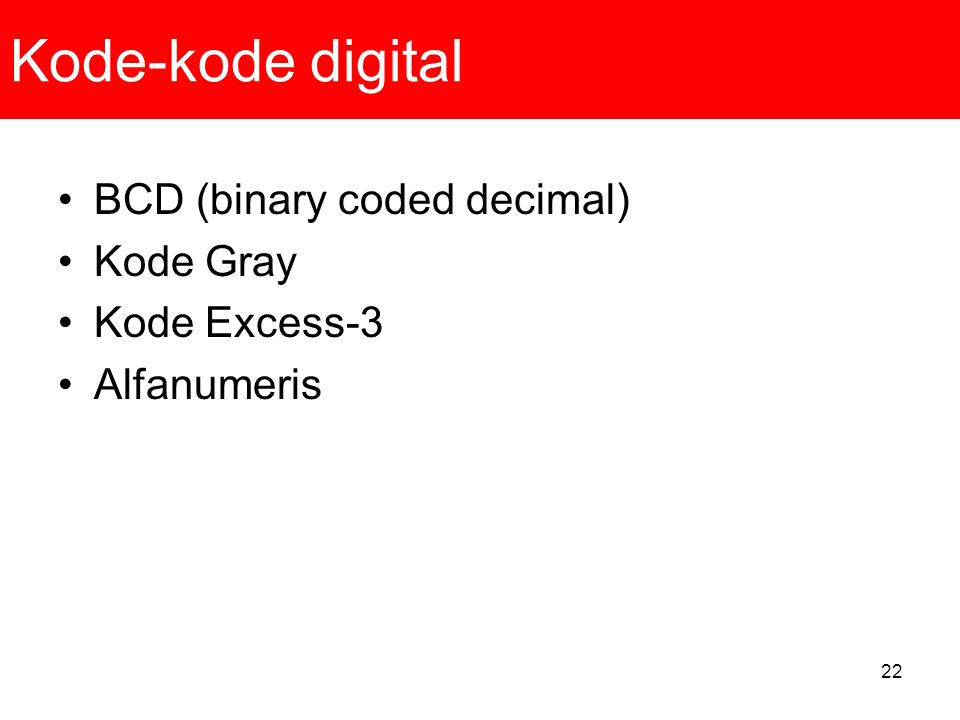 Kode-kode digital BCD (binary coded decimal) Kode Gray Kode Excess-3