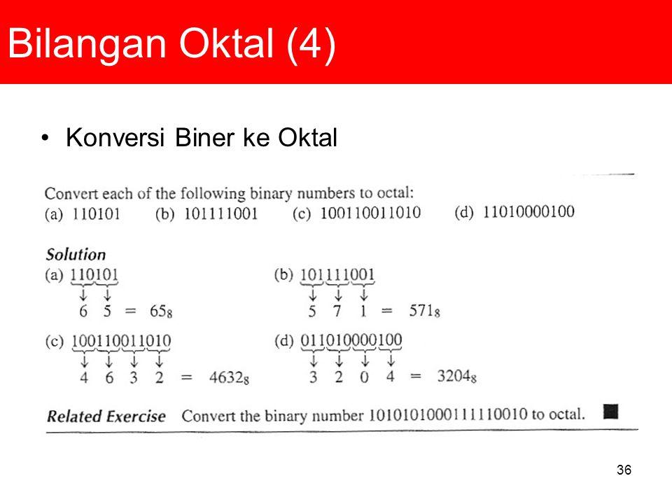 Bilangan Oktal (4) Konversi Biner ke Oktal