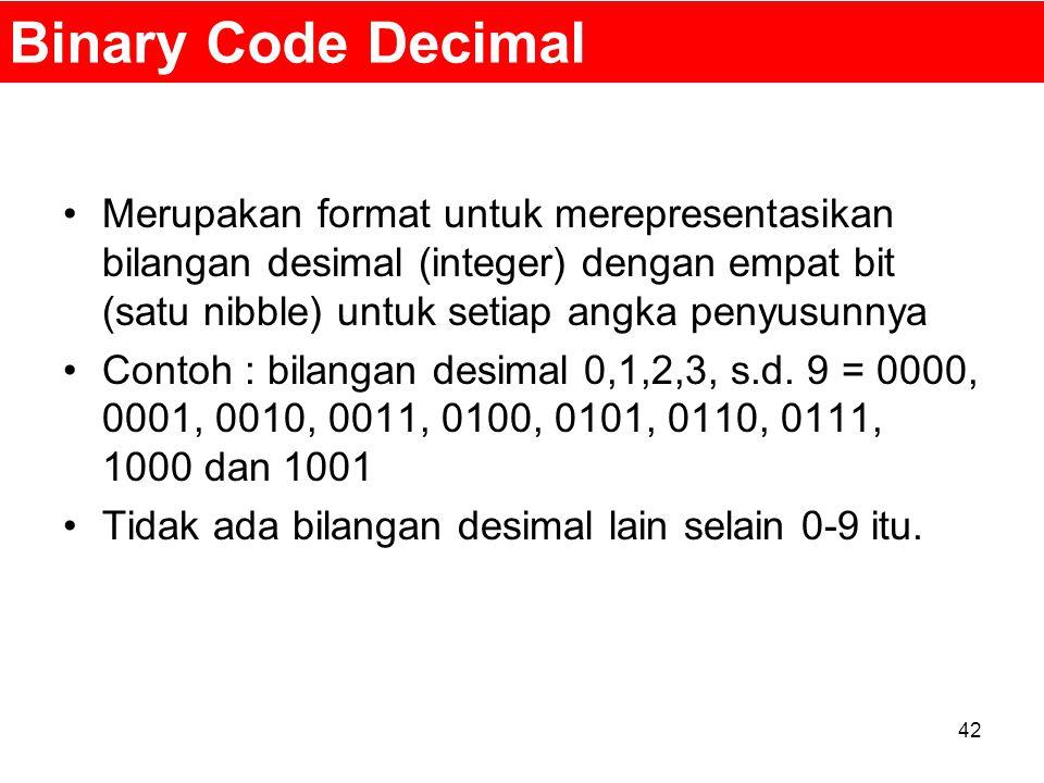 Binary Code Decimal Merupakan format untuk merepresentasikan bilangan desimal (integer) dengan empat bit (satu nibble) untuk setiap angka penyusunnya.
