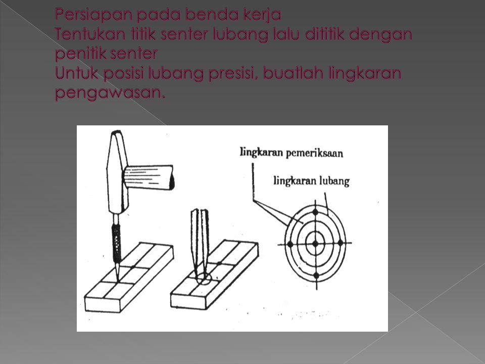 Persiapan pada benda kerja Tentukan titik senter lubang lalu dititik dengan penitik senter Untuk posisi lubang presisi, buatlah lingkaran pengawasan.
