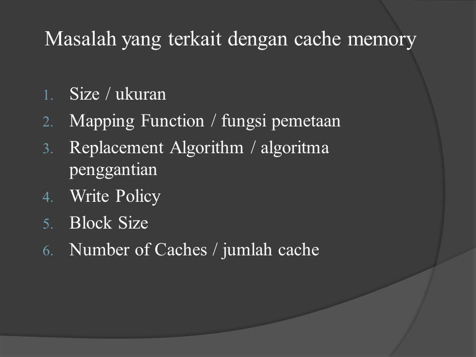 Masalah yang terkait dengan cache memory
