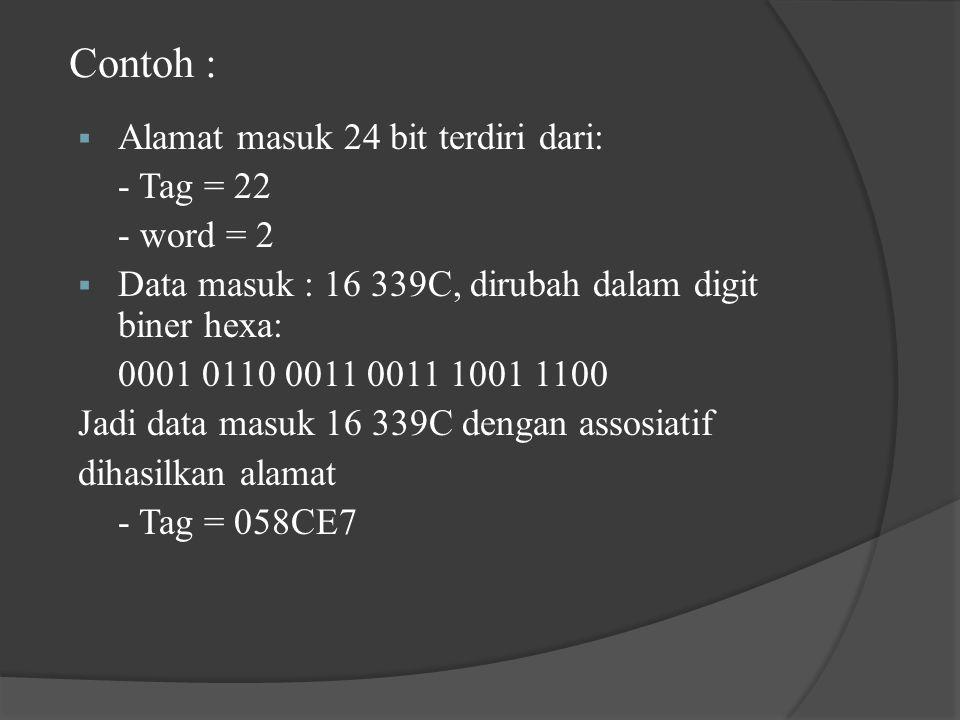 Contoh : Alamat masuk 24 bit terdiri dari: - Tag = 22 - word = 2