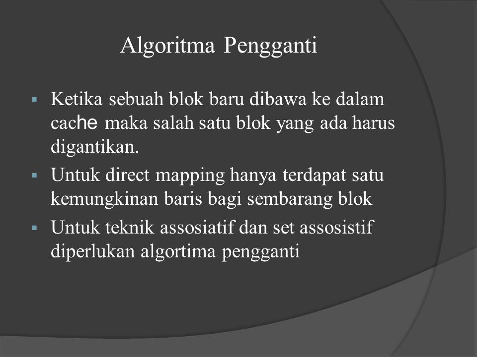 Algoritma Pengganti Ketika sebuah blok baru dibawa ke dalam cache maka salah satu blok yang ada harus digantikan.