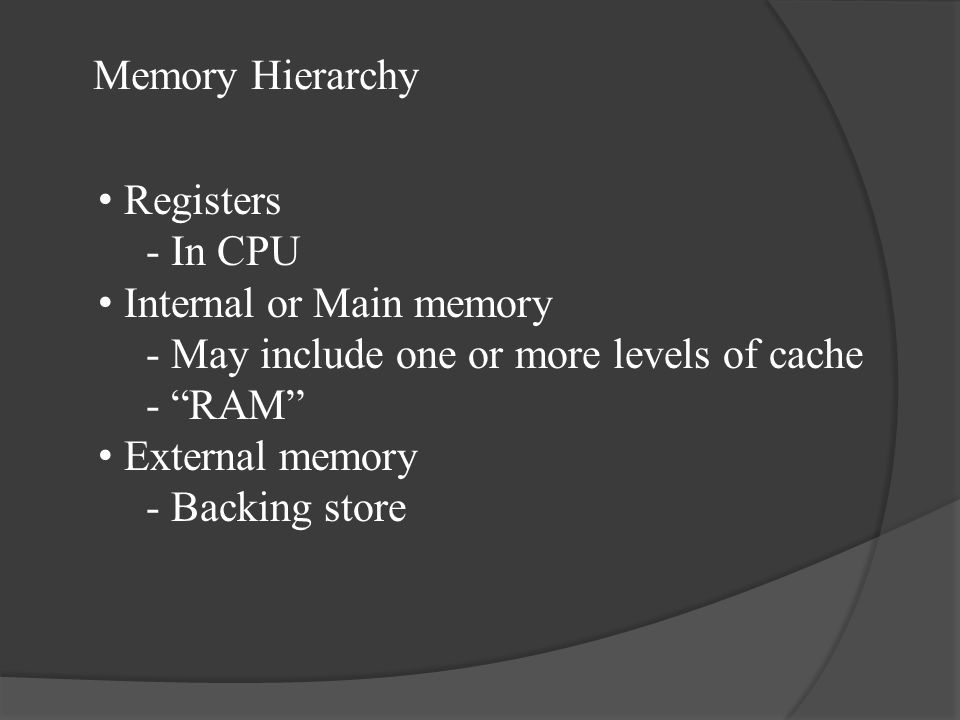 Memory Hierarchy Registers. - In CPU. Internal or Main memory. - May include one or more levels of cache.