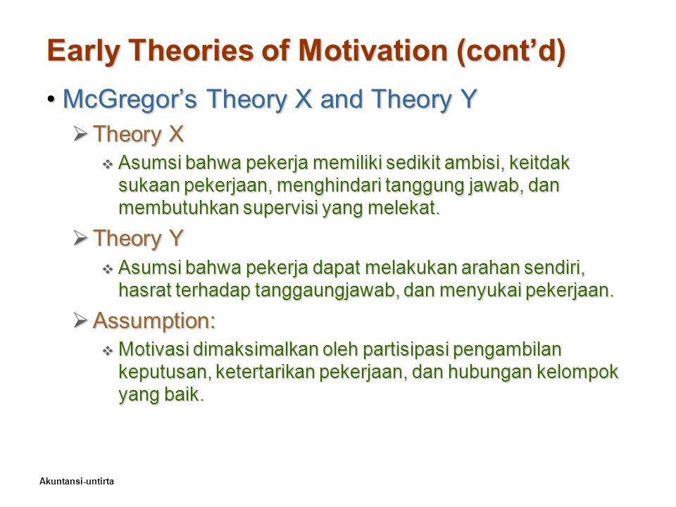 a description of the motivation theories Among the various cognitive theories of motivation, the two most notable ones include the expectancy theory and the goal-setting theory.