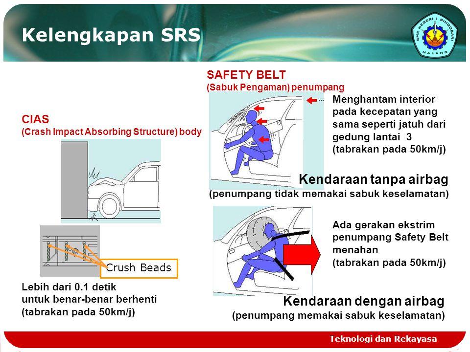 Kelengkapan SRS Kendaraan tanpa airbag Kendaraan dengan airbag
