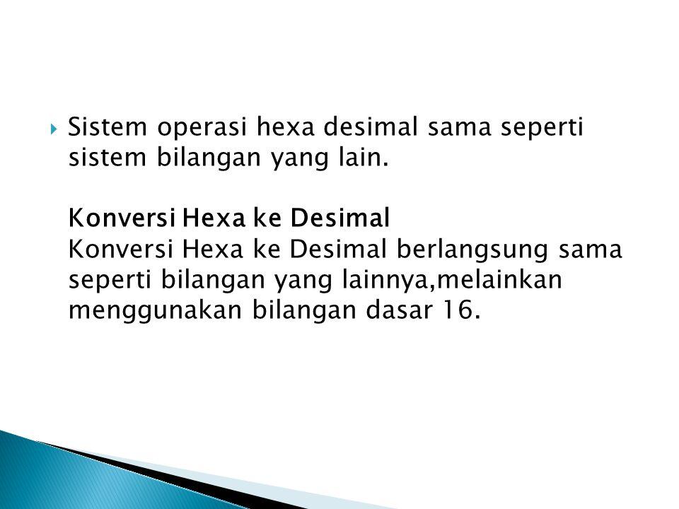 Sistem operasi hexa desimal sama seperti sistem bilangan yang lain