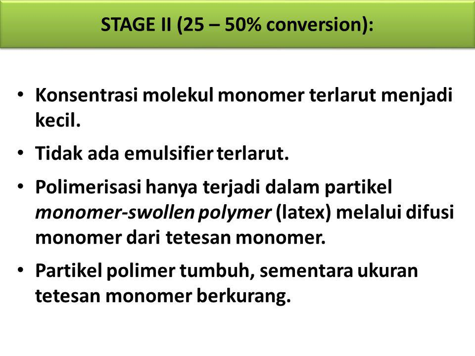 STAGE II (25 – 50% conversion):