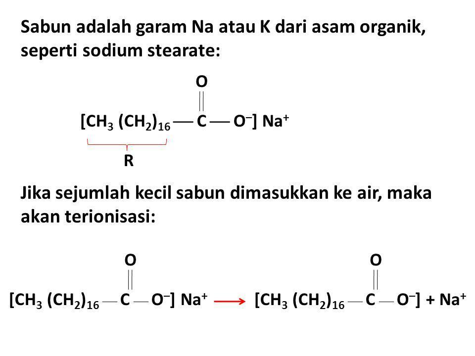Jika sejumlah kecil sabun dimasukkan ke air, maka akan terionisasi: