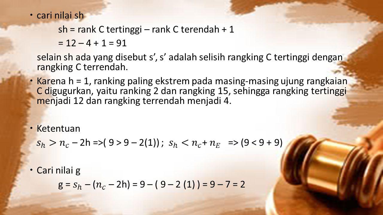 cari nilai sh sh = rank C tertinggi – rank C terendah + 1. = 12 – 4 + 1 = 91.