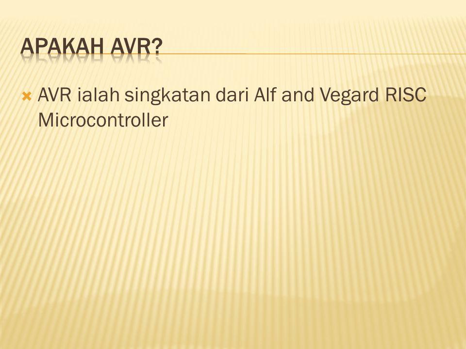 Apakah AVR AVR ialah singkatan dari Alf and Vegard RISC Microcontroller