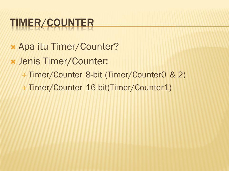 Timer/counter Apa itu Timer/Counter Jenis Timer/Counter:
