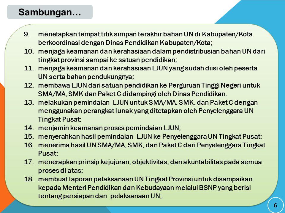 Sambungan… menetapkan tempat titik simpan terakhir bahan UN di Kabupaten/Kota berkoordinasi dengan Dinas Pendidikan Kabupaten/Kota;