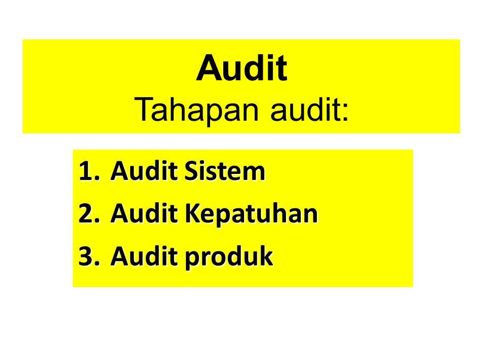 Audit Tahapan audit: Audit Sistem Audit Kepatuhan Audit produk
