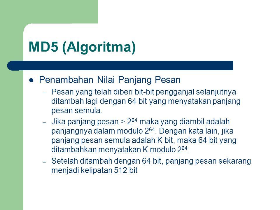 MD5 (Algoritma) Penambahan Nilai Panjang Pesan