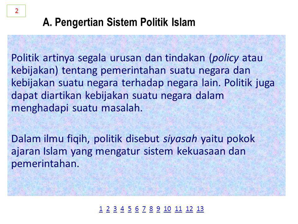 A. Pengertian Sistem Politik Islam