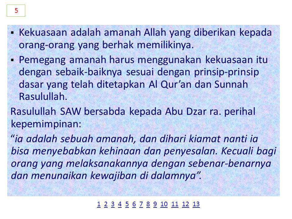 Rasulullah SAW bersabda kepada Abu Dzar ra. perihal kepemimpinan: