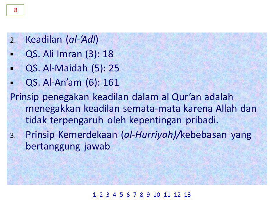 Prinsip Kemerdekaan (al-Hurriyah)/kebebasan yang bertanggung jawab