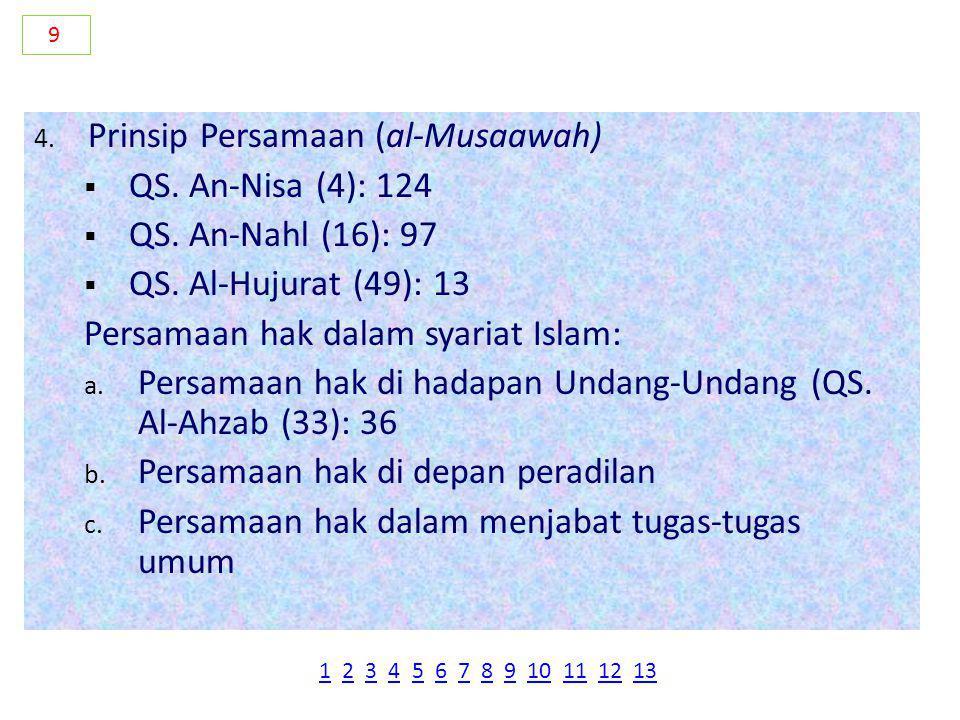 Prinsip Persamaan (al-Musaawah) QS. An-Nisa (4): 124