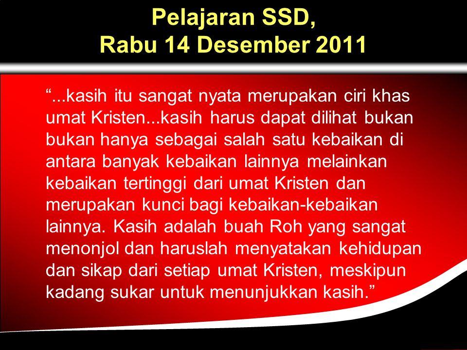 Pelajaran SSD, Rabu 14 Desember 2011