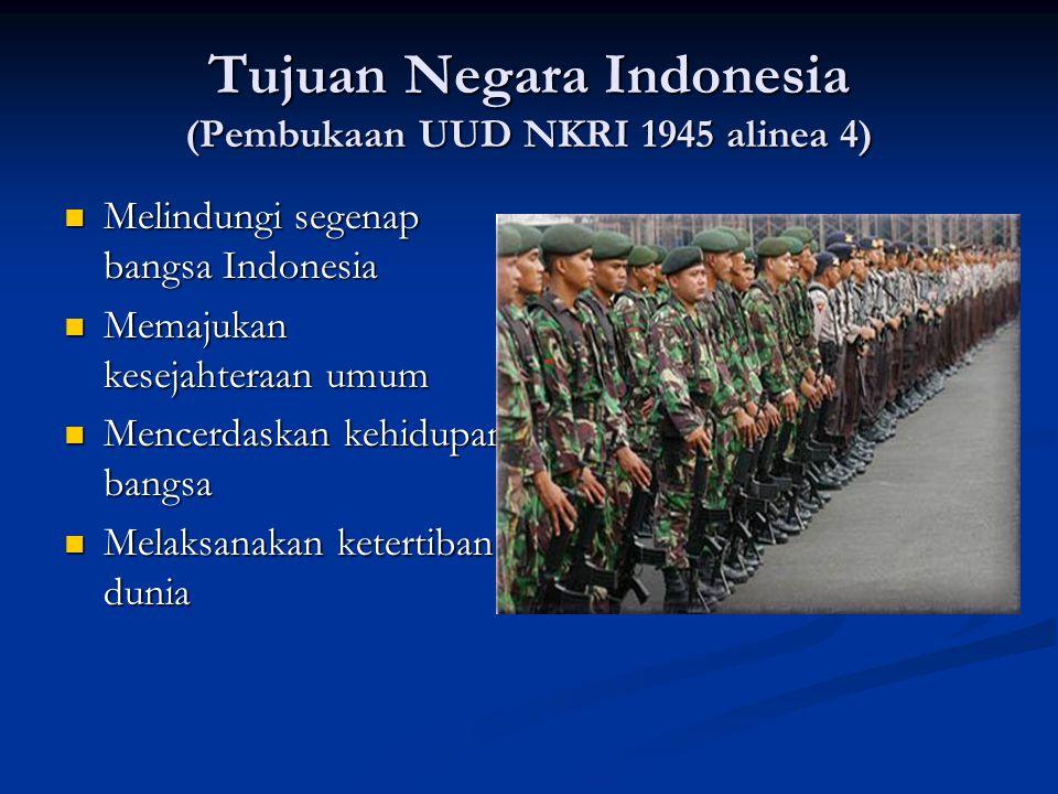 Tujuan Negara Indonesia (Pembukaan UUD NKRI 1945 alinea 4)