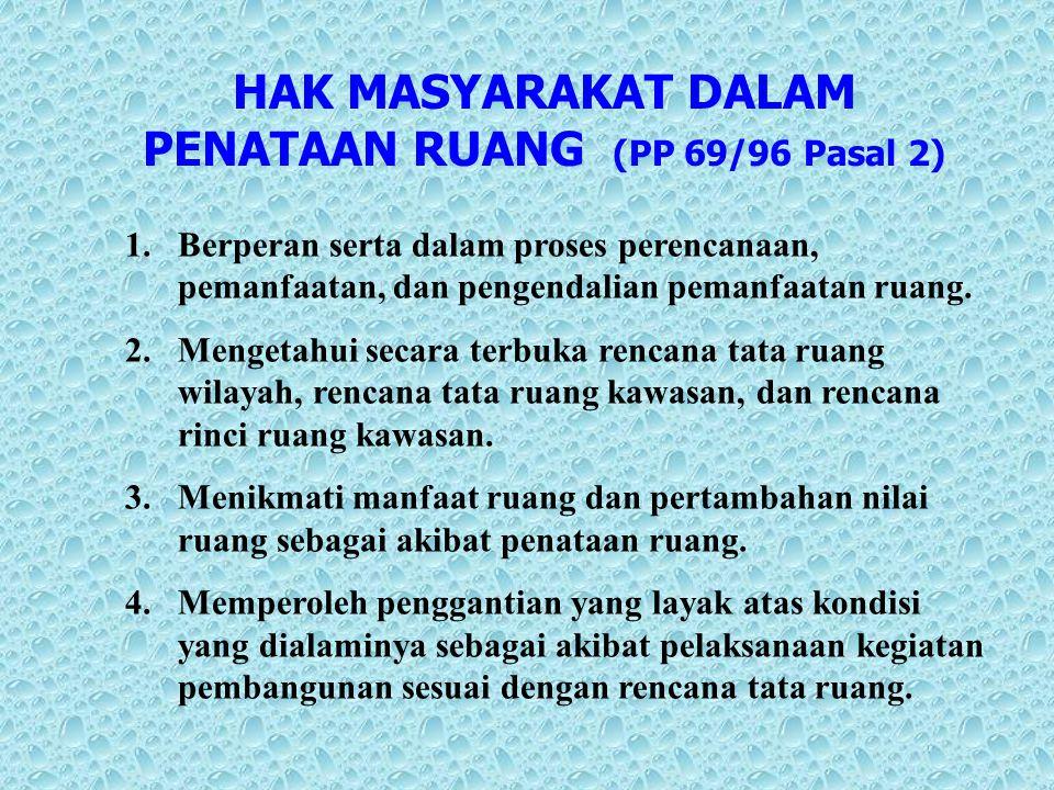 HAK MASYARAKAT DALAM PENATAAN RUANG (PP 69/96 Pasal 2)