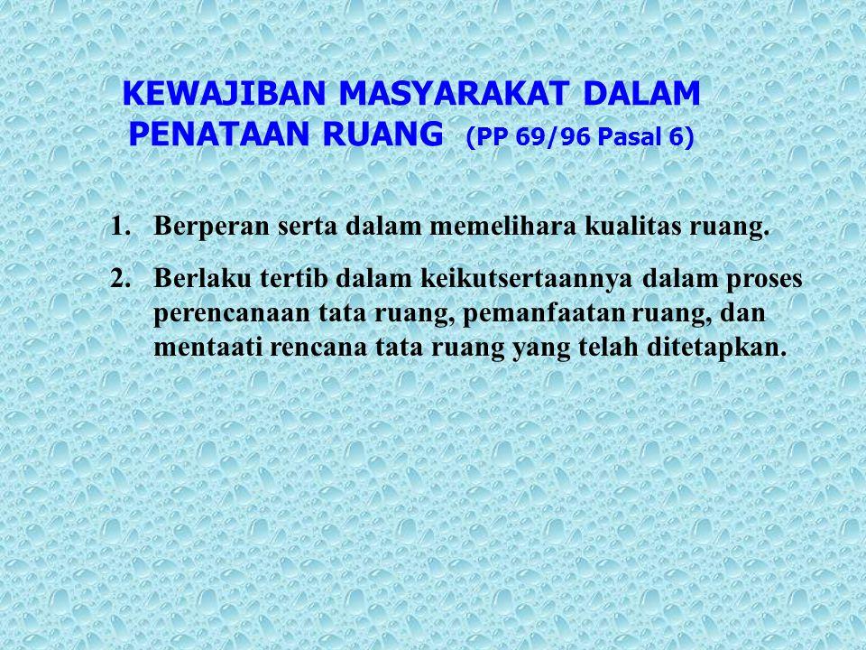 KEWAJIBAN MASYARAKAT DALAM PENATAAN RUANG (PP 69/96 Pasal 6)