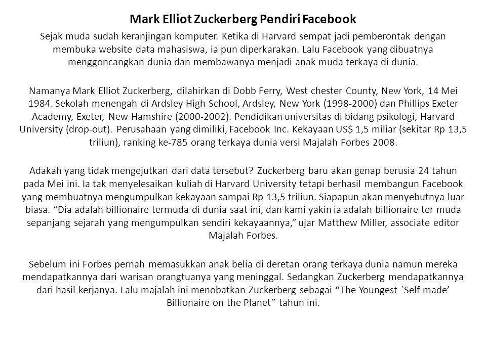 Mark Elliot Zuckerberg Pendiri Facebook