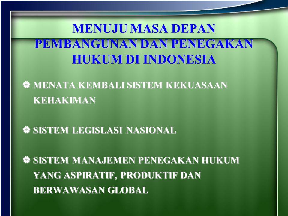 MENUJU MASA DEPAN PEMBANGUNAN DAN PENEGAKAN HUKUM DI INDONESIA