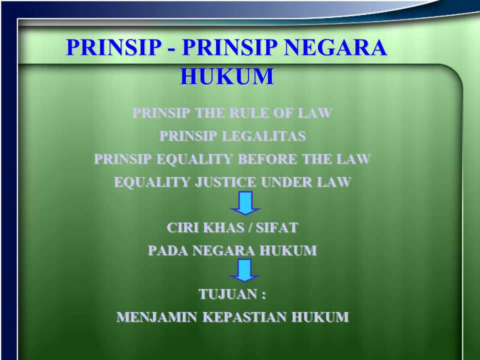 PRINSIP - PRINSIP NEGARA HUKUM
