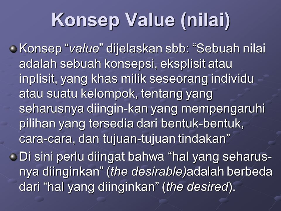 Konsep Value (nilai)