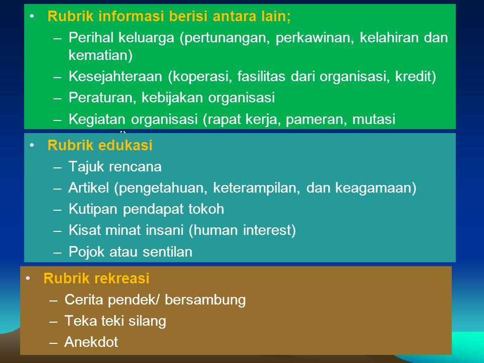 Rubrik informasi berisi antara lain;