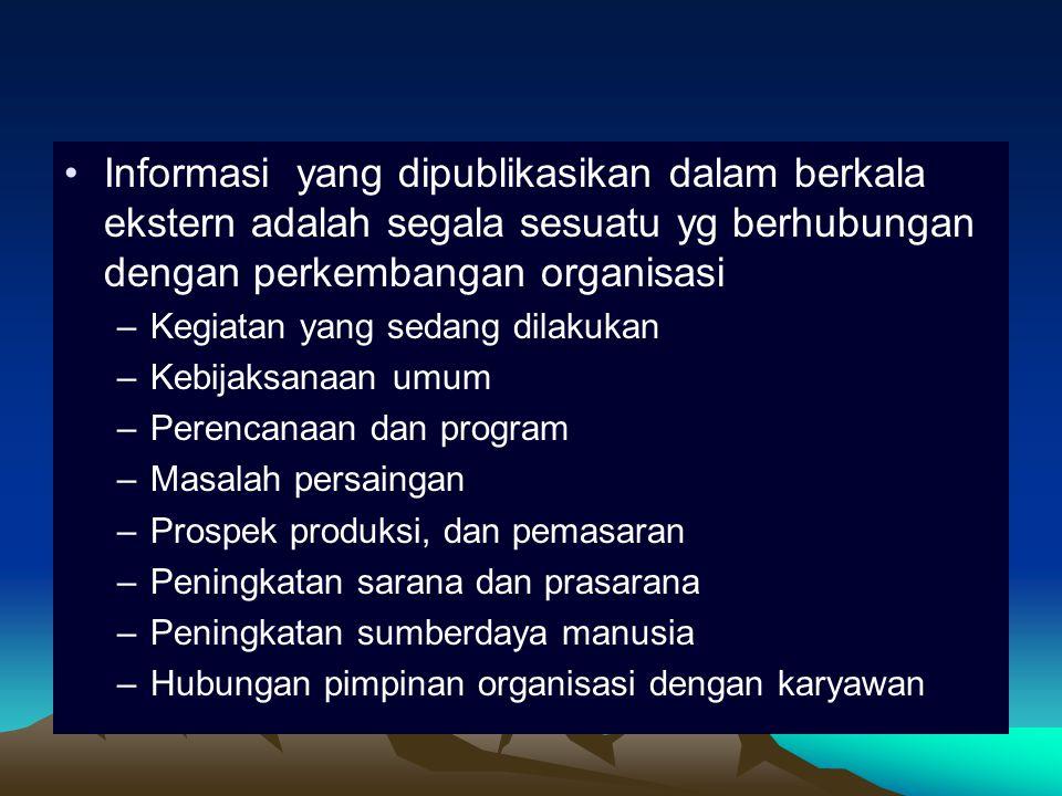 Informasi yang dipublikasikan dalam berkala ekstern adalah segala sesuatu yg berhubungan dengan perkembangan organisasi
